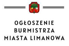 Ogłoszenie Burmistrza Miasta Limanowa z dnia 01.03.2021 roku