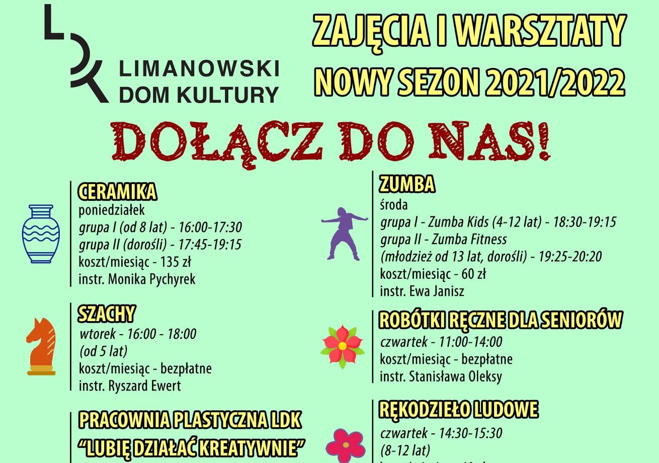 Plakat informujący o zajęciach i warsztatach w LDK