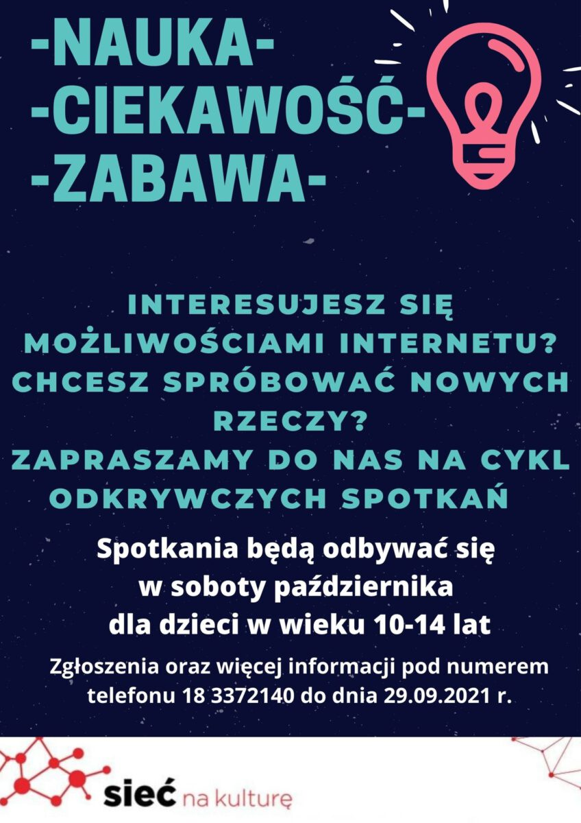 Plakat informujący o zajęciach edukacyjnych dla dzieci w MBP w Limanowej