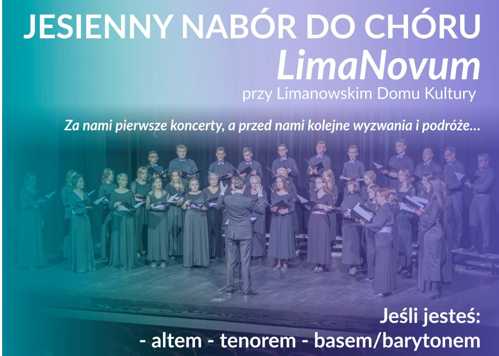 Plakat informujący o naborze do chóru LimaNovum