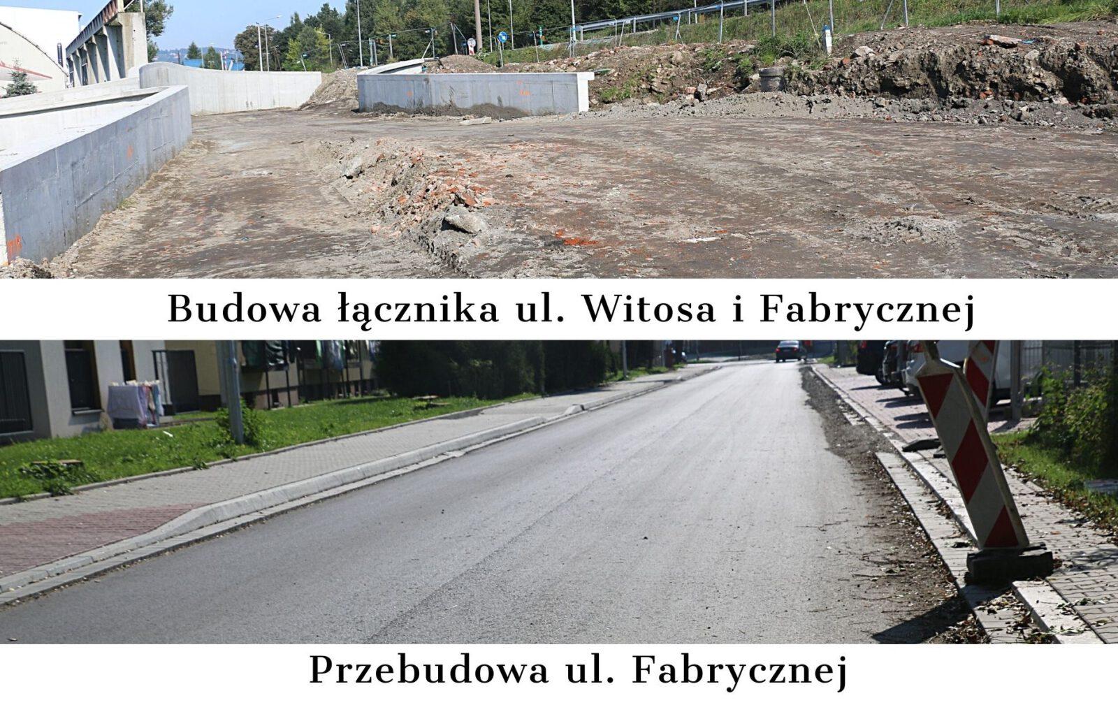 Zdjęcia przedstawiające inwestycje dotyczące budowy łącznika ulic Witosa i Fabrycznej oraz przebudowy ulicy Fabrycznej