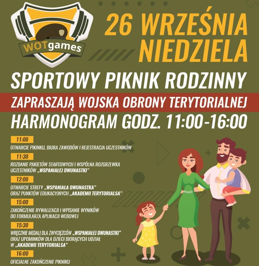 """Plakat promujący """"WOTGames"""" – rodzinny piknik sportowy"""