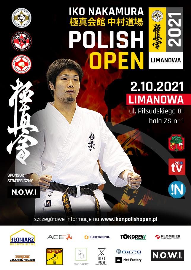 Plakat informujący o I Otwartym Pucharze Polski Karate Kyokushin w Limanowej