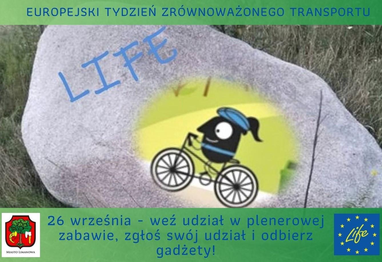 Plakat promujący akcję organizowaną w ramach Europejskiego Tygodnia Zrównoważonego Transportu