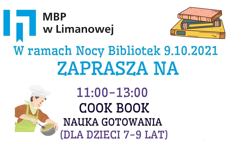 """Plakat informujący o akcji """"Noc bibliotek"""" w Miejskiej Bibliotece Publicznej w Limanowej"""