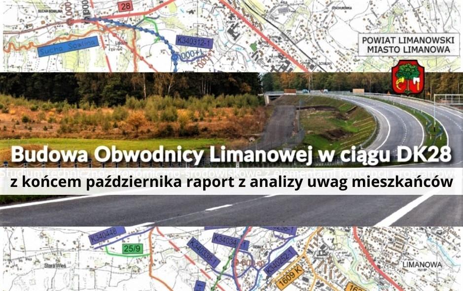 Plakat dotyczący informacji w sprawie planów budowy obwodnicy Limanowej