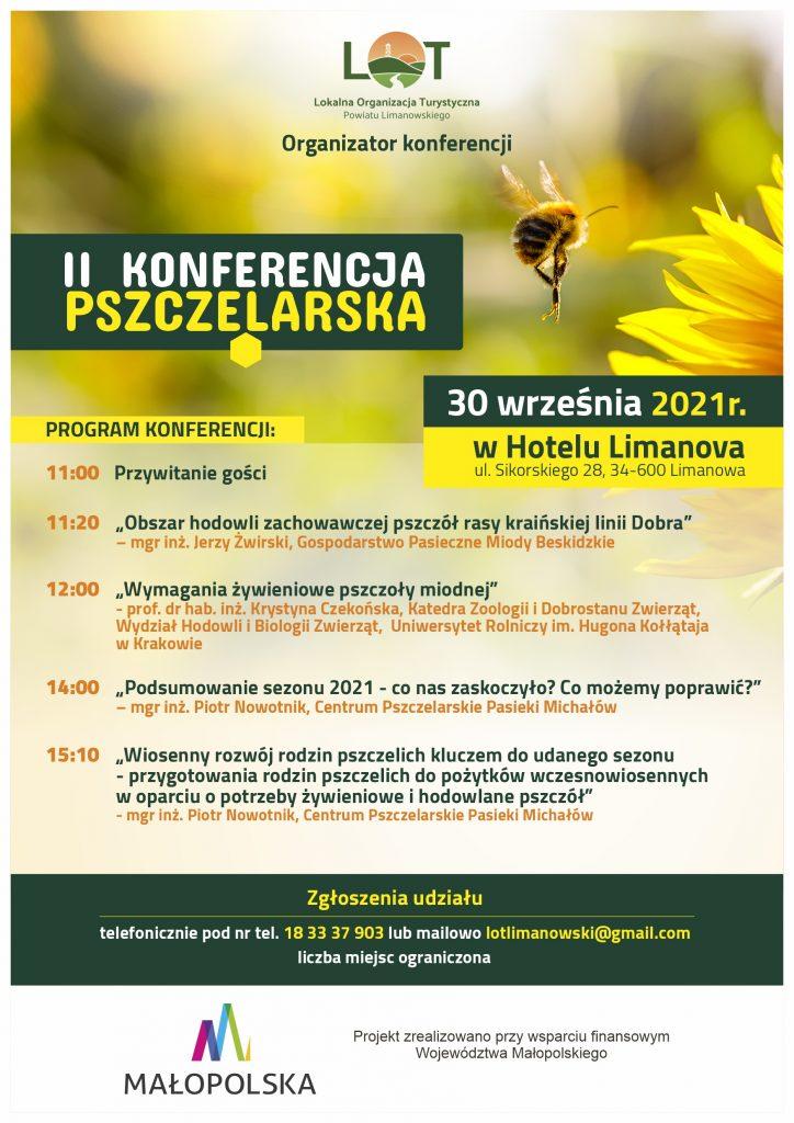 Plakat informujący o II Powiatowej Konferencji Pszczelarskiej