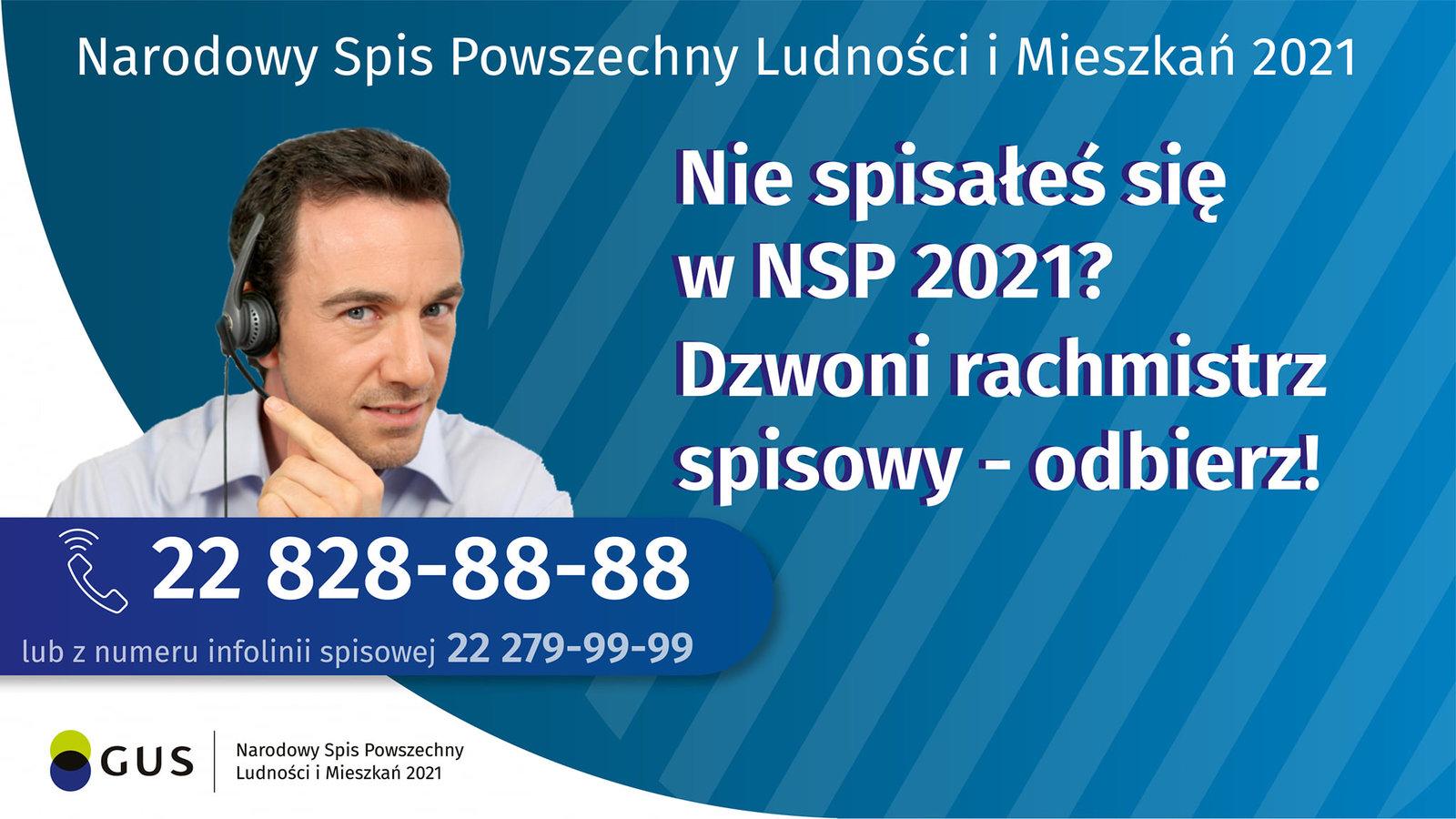 Plakat informujący o Narodowym Spisie Powszechnym Ludności Mieszkań
