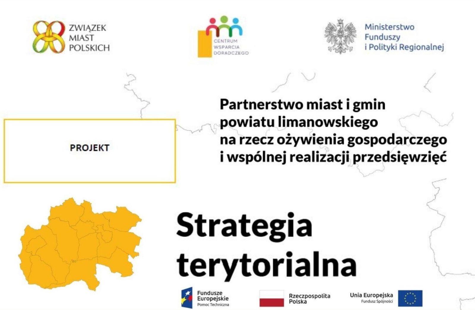 """Plakat informujący o projekcie """"Strategii terytorialnej partnerstwa miast i gmin powiatu limanowskiego"""""""