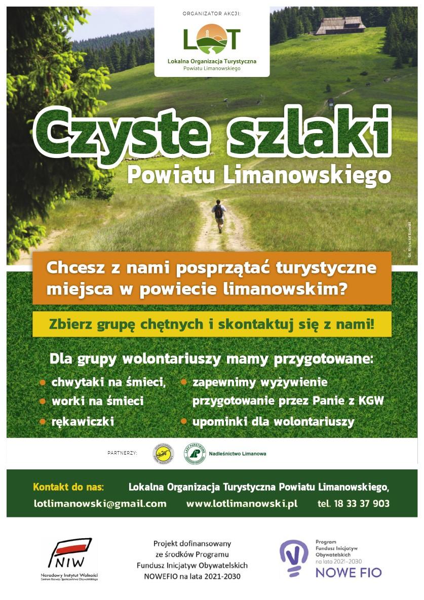 """Plakat informujący o akcji """"Czyste szlaki Powiatu Limanowskiego"""""""