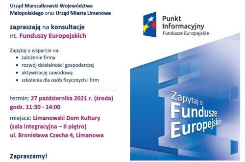 27 października zapraszamy na konsultacje nt. Funduszy Europejskich