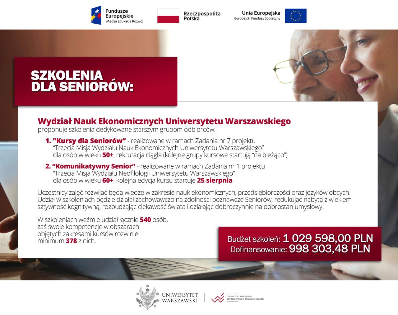 Plakat informujący o darmowych kursach on-line dla seniorów