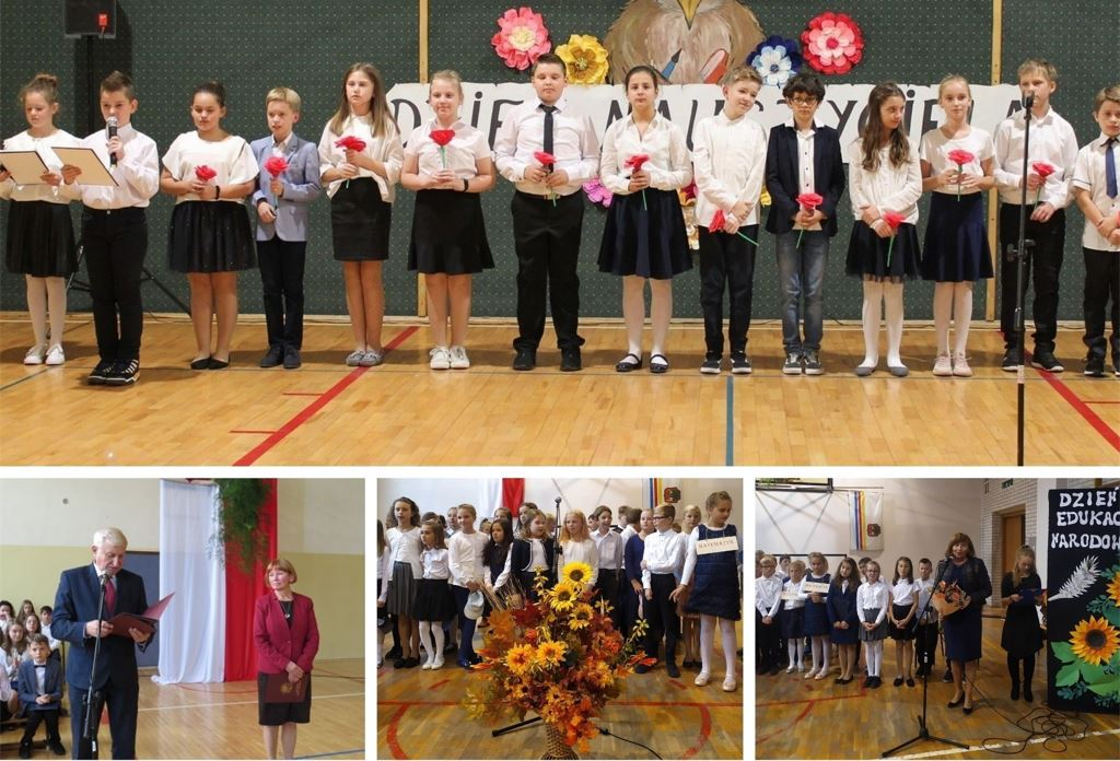 Zdjęcia przedstawiają uroczystości Dnia Edukacji Narodowej w ZSP n1, SP nr 2 i SP nr 3