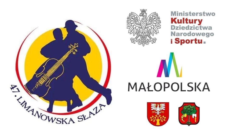 """Plakat informujący o Patronacie MKDNiS nad Festiwalem """"Limanowska Słaza"""""""