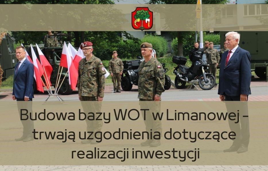 Plakat dotyczący informacji o rozmowach ws. budowy bazy WOT w Limanowej